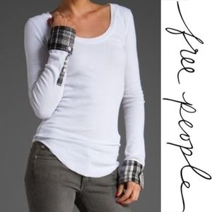 Free People White Lou Flannel Cuff Thermal Small